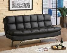Aristo ii contemporary style design black finish leatherette futon sofa with chrome finish support legs