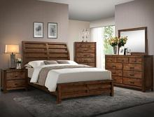 B4800 Q 5 pc Curtis medium oak finish solid wood sleigh headboard bedroom set