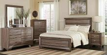204191Q 5 pc kaufman washed taupe finish wood and natural oak wood grain queen bed set