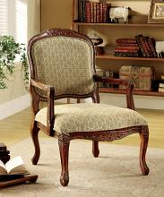 CM-AC6919 Quintus patterned fabric antique oak wood finish accent chair