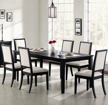 "101561-62 7 pc lexton distressed black wood finish rectangular dining table set with 18"" leaf"