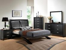 Crown Mark B4380 5 pc Galinda black wood finish queen bedroom set with arch shaped base