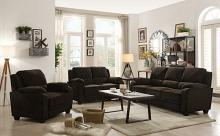 506244-45 2 pc Northern chocolate chevron velvet fabric sofa and love seat set
