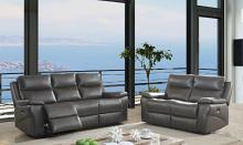 CM6540-PM 2 pc Lila  grey top grain leather match power motion sofa and love seat with recliner ends