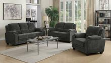 506241-42 2 pc Northern collection charcoal chevron velvet fabric upholstered sofa and love seat set