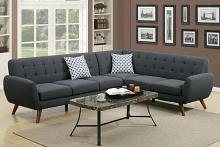 Poundex F6962 2 pc A&J homes studio min abigail ii ash black linen like fabric sectional sofa with tufted back