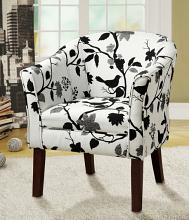 Dark finish wood frame barrel shaped accent side chair with bird and branch upholstery