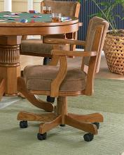 Gameroom / Poker chair amber finish wood and olive brown fabric upholstered swivel chair with casters