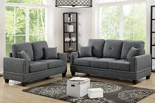2 pc Pallisades collection ash black cotton blended fabric upholstered sofa and love seat set with nail head trim