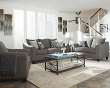506021-22 2 pc Sallazar collection grey linen like fabric upholstered sofa and love seat set with flared arms