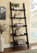 800338 Espresso finish wood 5 tier leaning bookshelf with back and side guards