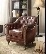 Acme 53627 Aberdeen vintage dark brown top grain leather accent chair