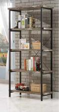 Skelton collection salvaged cabin wood finish with black metal frame 5 tier book shelf