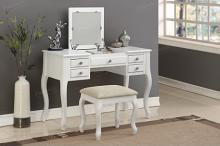 Poundex F4148 3 pc Angelica antique white finish wood make up bedroom vanity set flip up mirror