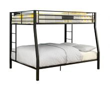 Claren collection black finish metal frame contemporary style full over queen bunk bed set