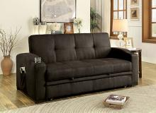 CM2691 Mavis dark brown fabric folding futon sofa bed