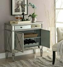 Coaster 102596 Mastery collection mirrored front hall console entry small wine cabinet with doors and drawer