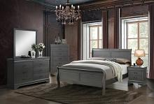 5 pc Louis Phillipe III collection contemporary style gray finish wood sleigh queen bedroom set