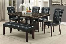 6 pc Arenth collection espresso finish wood faux marble top dining table set with bench