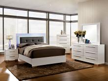 CM7201 Clementine contemporary style white high gloss finish wood and led lighting trim queen bed set