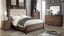 Furniture of america CM7577-5pc 5 pc hutchinson collection rustic natural tone finish wood queen bedroom set