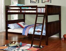 Furniture of america CM-BK930FF Gracie collection dark walnut finish wood full over full bunk bed