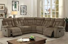 CM6773MC 3 pc maybell transitional style mocha chenille fabric upholstery sectional sofa with recliners