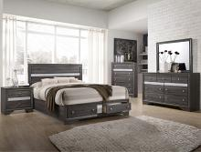 Crown mark B4650 5 pc Regata collection grey finish wood bedroom set with footboard drawers