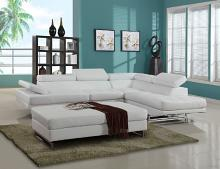 Global United 8136WH-2PC 2 pc Nova white leather gel upholstered sectional sofa with adjustable headrests and arm with chrome legs
