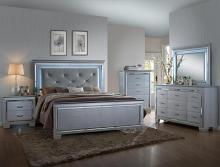 5 pc lillian collection metallic wood finish wood queen bedroom set with led accents