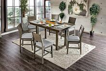 7 pc anton ii collection gray finish wood counter height dining table set