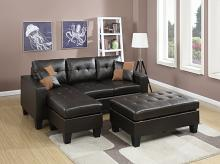 2 pc daryl collection espresso bonded leather upholstered reversible sectional sofa set with chaise and ottoman