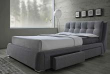 300523Q Fenbrook contemporary style grey fabric queen size bed with lower drawers