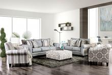 Furniture of america SM8141 2 pc Misty blue woven fabric sofa and love seat set