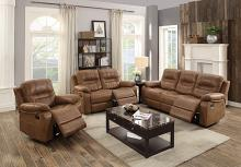 Poundex F6646-47 2 pc Carlsbad dark brown breathable leatherette sofa and love seat set with reclining ends