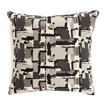 "PL6003BKS Set of 2 concrit black colored fabric 18"" x 18"" throw pillows"