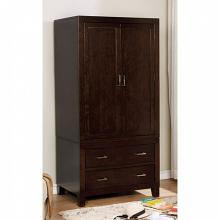 Enrico collection espresso finish wood clothing armoire stand alone closet cabinet