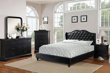4 pc Janelle II collection black faux leather tufted upholstered queen bed set