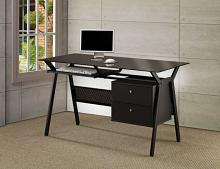 800436 Ebern designs atchison black powder coated finish metal frame and glass top computer desk