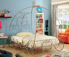 Enchant collection champagne finish full metal frame princess carriage style canopy bed frame