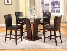 "CM1710T-54 5 pc Camelia espresso finish wood base and 54"" round glass top counter height dining table set"