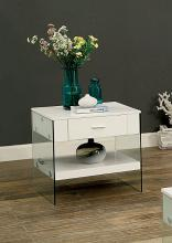 CM4451WH-E Raya white finish wood and glass end table