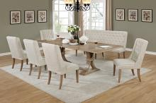 6 pc Sania II collection antique natural finish wood rustic style dining table set with tufted chairs and love bench