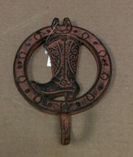 Cast iron antique rust cowboy boot single hook wall hanger