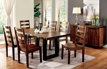 CM3606T-7pc 7 pc Maddie maddison tobacco oak finish natural edge wood dining table set