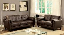 CM6717BR 2 pc pierre brown leatherette sofa and love seat set