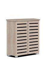 Asia Direct  3342-NA Natural finish wood wide louvered design front panels shoe cabinet