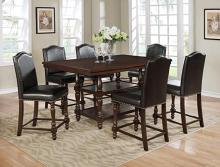 2766T-4266 7 pc Gracie oaks langley brown finish wood counter height dining table set with pedestal