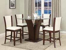 "CM1710T-WH-54 5 pc Camelia espresso finish wood base and 54"" round glass top counter height dining table set with white chairs"