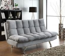 Coaster 500775 Light grey teddy bear fabric upholstered folding sofa / futon bed with tufted accents